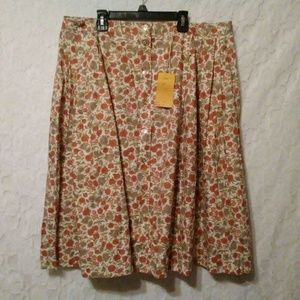Vintage Barry Ashley Button Front Full Midi Skirt
